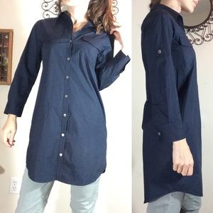 Theory Black Button Up Tunic Blouse Collared